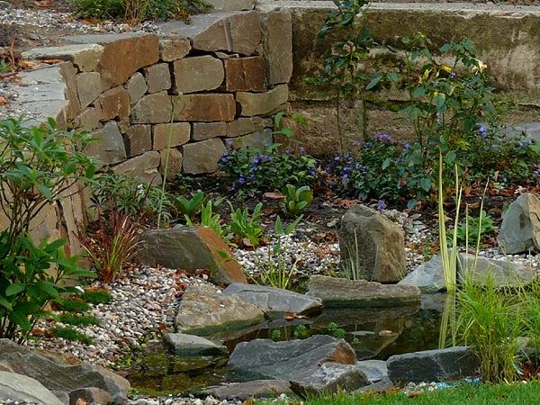Ein Gruner Garten Aus Wasser Und Stein